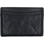 Authentic Chanel Camellia CC Logo Card Case Holder in Black Lambskin L11739