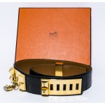 Authentic HERMES Collier De Chien Alligator Croc Leather Belt Black 75cm L11743