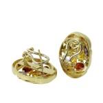 14KT Yellow Gold 50.00ctw Cubic Zirconia Bracelet Earrings Jewelry Suite L1975
