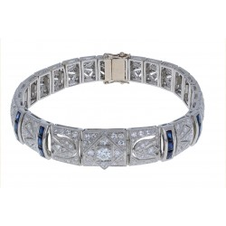 Platinum and 14KT Yellow Gold Ladies Diamond & Sapphire Art Deco Style Bracelet