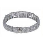 Platinum and 14KT Yellow Gold Ladies Diamond & Sapphire Art Deco Style Bracelet