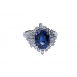 Platinum Ladies Sapphire & Diamond Cocktail Ring,  GIA CERTIFIED