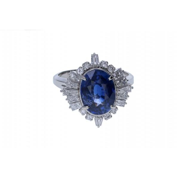 Platinum Ladies Sapphire & Diamond Cocktail Ring,  GIA CERTIFIED