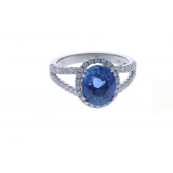 18KT White Gold Ladies Sapphire Cocktail Ring with Round Diamonds NO HEAT