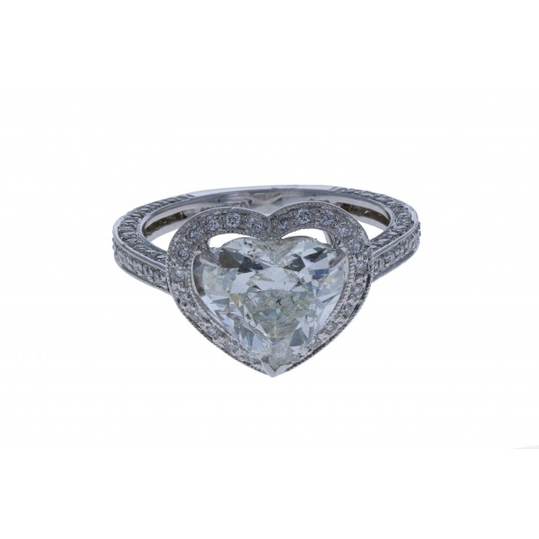 18KT White Gold Ladies Heart Shape Diamond Ring EGL CERTIFIED