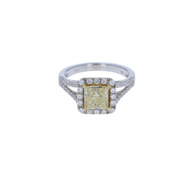 18KT White Gold Ladies Fancy Yellow Diamond GIA CERTIFIED Ring