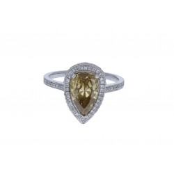 Platinum Ladies Pear Shaped Diamond Ring GIA CERTIFIED