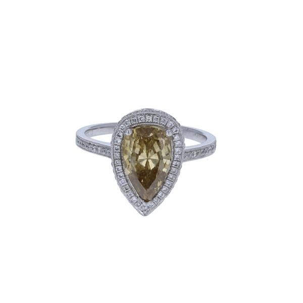 Platinum Ladies Pear Shaped Diamond Ring GIA CERTIFIED