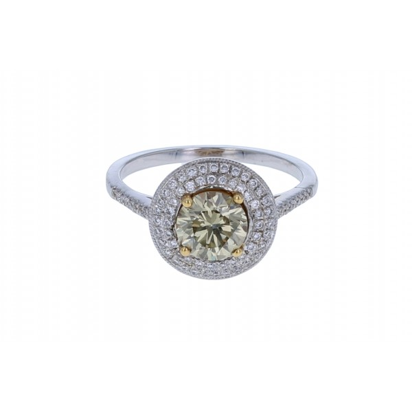 Platinum and 14KT Yellow Gold Ladies Diamond Ring GIA CERTIFIED