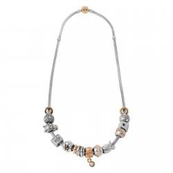 PANDORA 14KT Gold  Silver Charm Necklace Length 16