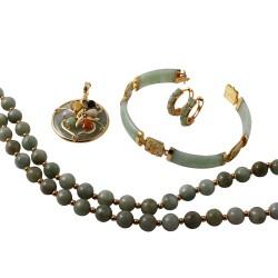 14KT Yellow Gold 386.38ctw Jadeite 4-Piece Jewelry Suite L965