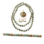 14KT Yellow Gold 386.38ctw Jadeite 4-Piece Jewelry Suite L965