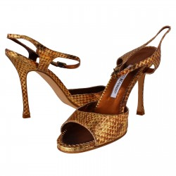 MANOLO BLAHNIK Shoes Snake Oro Gold Size 39 L596