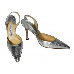 MANOLO BLAHNIK Carolyne Crocodile Shoes Size 39.5 Color Silver L623