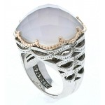 Bold Woven Crescent Ring featuring Chalcedony With A Rose Gold Rim Design