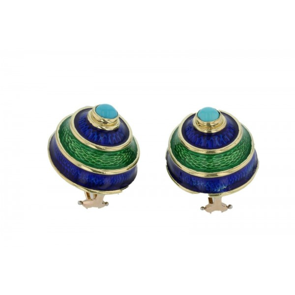 CELLINO 18KT Green and Blue Enamel Vintage Earrings