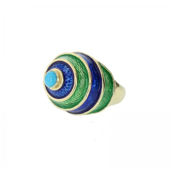 CELLINO 18KT Green and Blue Enamel Vintage Ring