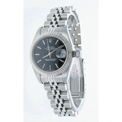 Ladies Rolex DateJust 26mm Black Jubilee Stainless Fluted White Gold Watch 79174