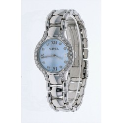 Ebel Beluga Ladies Diamond 27mm E9157428-20 Steel Watch Powder Blue Face