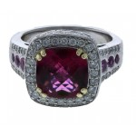 Charles Krypell 18KT White Gold Rubellite & Diamond Ring