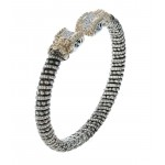Vahan Bracelet - Sterling and 14kt Gold 0.18ctw Diamond Cuff Bracelet 7mm Wide