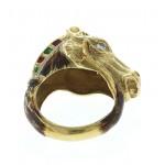 18kt Yellow Gold Custom Made Enamel Horse Head Ring With Diamond Eyes