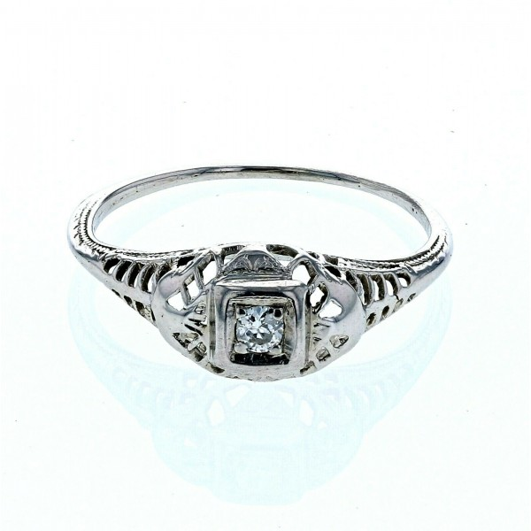 Platinum Diamond Antique Ladies Ring Size 5.5