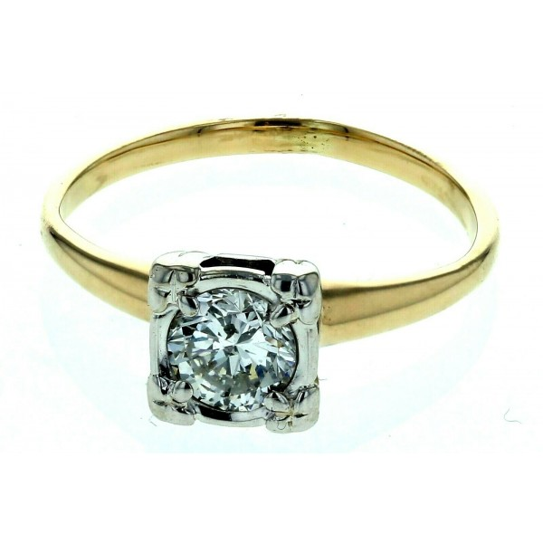 14kt Yellow & White Gold Diamond Solitaire Engagement Ring