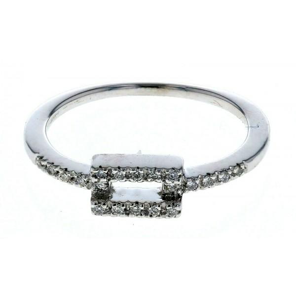 14kt White Gold Diamond Ring with Rectangular Center Design