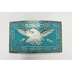 Taxco Mexico Silver Belt Buckle With Crushed Turquoise & White/Black Eagle