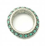 Vintage Lucky Brand Silver & Turquoise Thick Band Ring Size 7