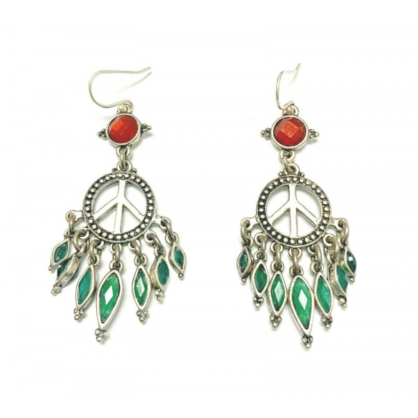 Sterling Silver Peace Sign Earrings With Glass Blood Orange & Green Stones
