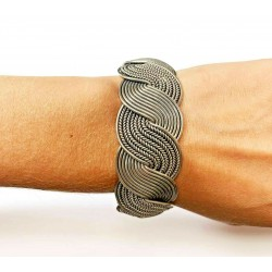 BJC Sterling Silver Woven Cuff Bracelet with Flower Carved End Caps