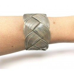 Sterling Silver Women's Woven Cuff Bracelet