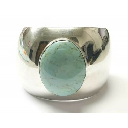 925 Sterling Silver Mexico Vintage Cuff Bracelet with Turquoise Gemstone