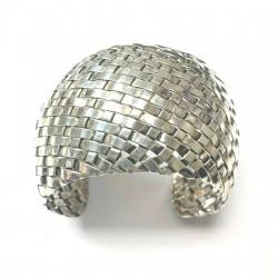 Sterling Silver Mexico Woven Women's Cuff Bracelet