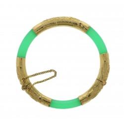 22kt  Yellow Gold Jadeite Women's Bangle Bracelet