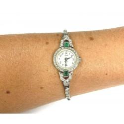 Mido 14KT White Gold Emerald & Diamond Ladies Wristwatch