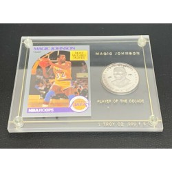 Rare Magic Johnson MVP Basketball Card & Silver Commemorative Coin