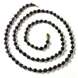 14kt Yellow Gold and Amethyst Beaded Necklace 4.4mm