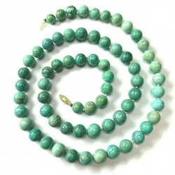 Large Turquoise and Magnesite Beaded Necklace with 14kt Gold Safety Clasp
