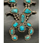 Navajo Pawn Sterling Silver Turquoise Squash Blossom Necklace
