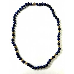 "Lapis Lazuli Bead 12"" necklace with 14kt Gold Clasp"