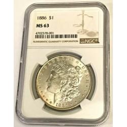 1886 Morgan Dollar MS63   WLG125