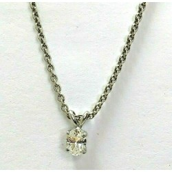 14KT White Gold Oval 0.67ct Diamond Pendant & Chain WLG22CCH