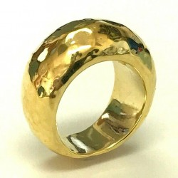 18kt yellow gold IPPOLITA hammered textured ring WLG161