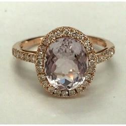 14kt Rose Gold Kunzite & Diamond Ring WLG215