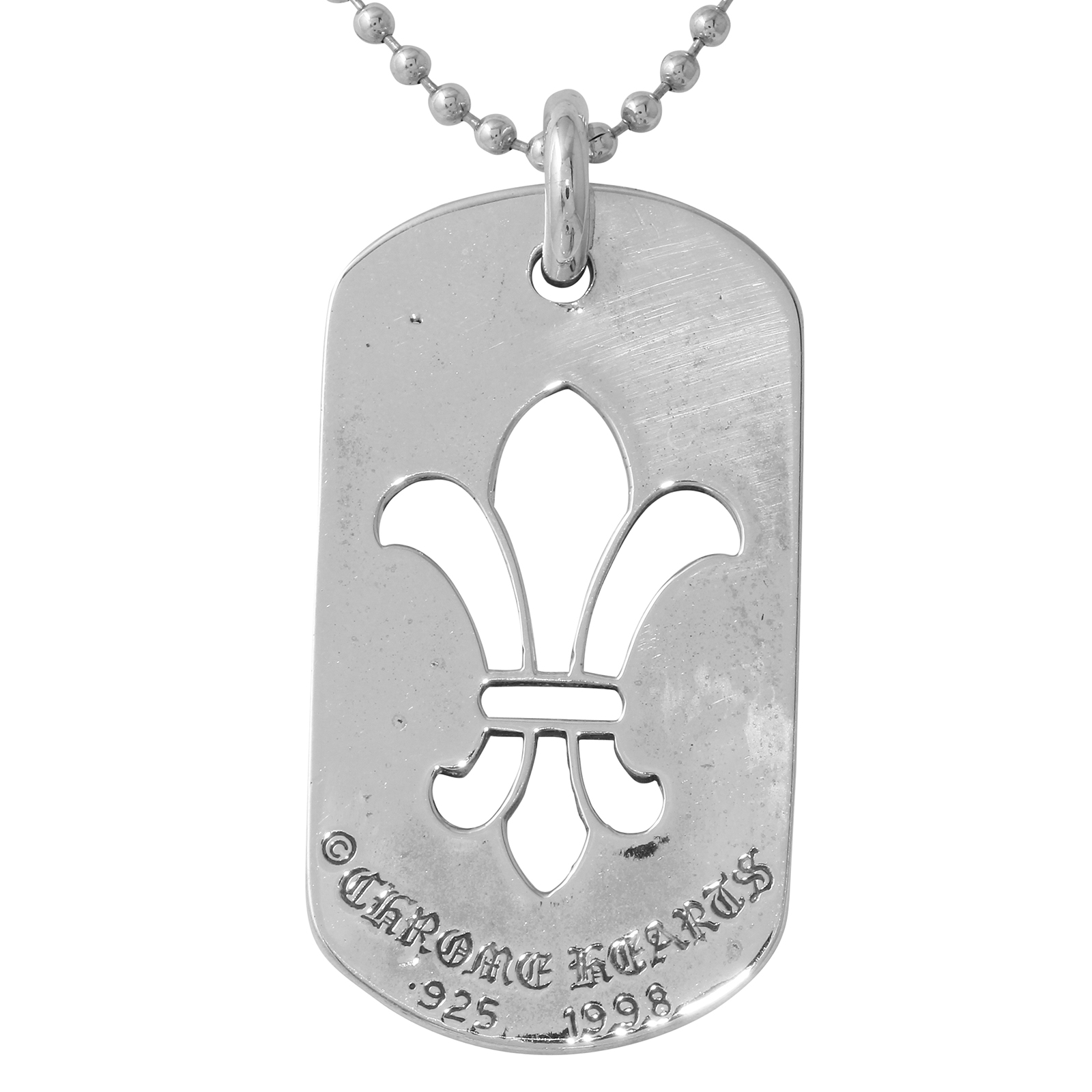 8f8815c4ad9d Chrome Hearts Sterling Silver Dog Tag Necklace 30